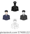 Pilot.Professions single icon in cartoon,black style vector symbol stock illustration web. 57489122