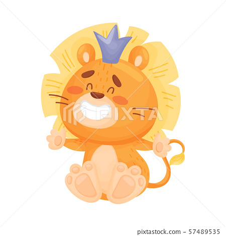 Cute Little Lion In The Crown Vector Stock Illustration 57489535 Pixta Blend 3ds dae fbx obj. pixta