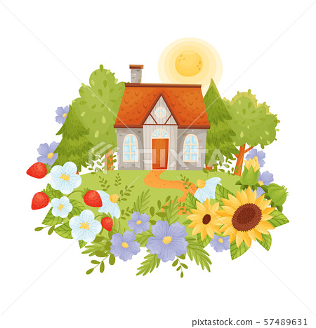 Rustic gray house with a brown roof. Vector illustration. 57489631