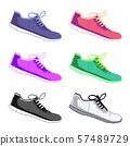 Sports shoes vector set. Fashion sportwear, everyday sneaker, footwear clothing illustration 57489729