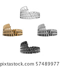 Colosseum in Italy icon in cartoon,black style isolated on white background. Countries symbol stock 57489977