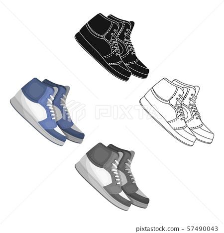 Basketball shoes.Basketball single icon in cartoon,black style vector symbol stock illustration web. 57490043