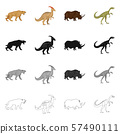 Isolated object of animal and character logo. Set of animal and ancient stock symbol for web. 57490111