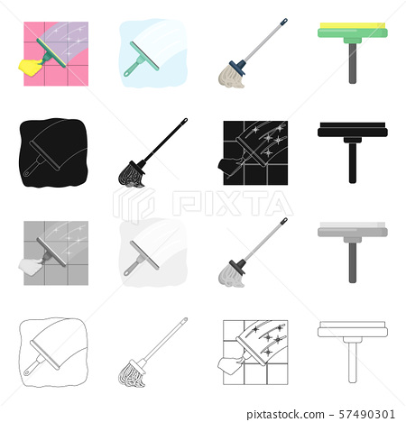 Isolated object of mop and broom logo. Set of mop and cleaner stock vector illustration. 57490301