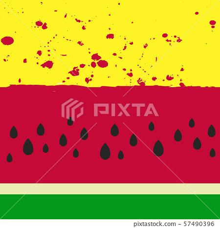 Ripe fresh juicy watermelon slice pattern 57490396