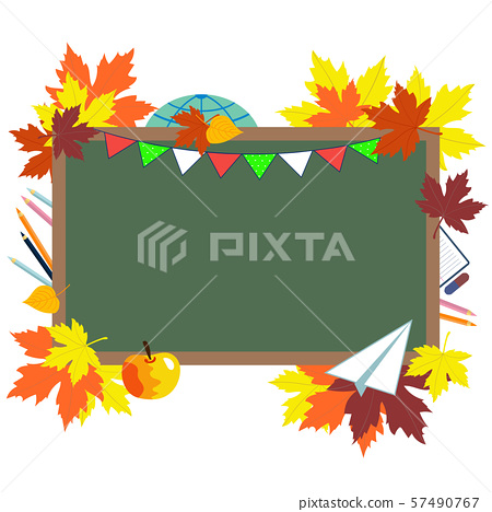 Green chalkboard, school supplies and autumn leaves. Concept of education, starting school, back to school. 1 September. beginning of school year. Vector illustration 57490767