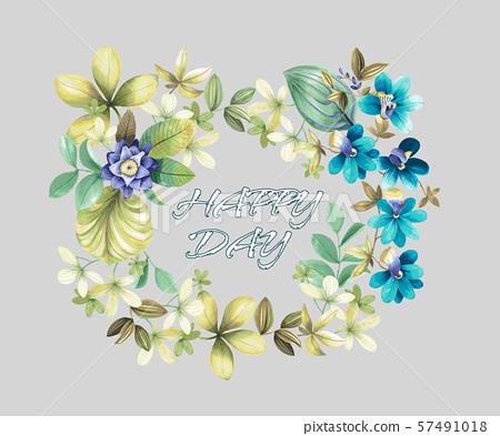 裝飾風格的水彩花卉和婚禮邀請卡設計 57491018