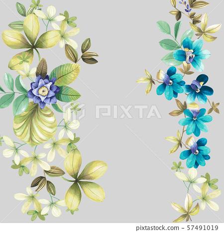 裝飾風格的水彩花卉和婚禮邀請卡設計 57491019