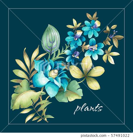 裝飾風格的水彩花卉和婚禮邀請卡設計 57491022
