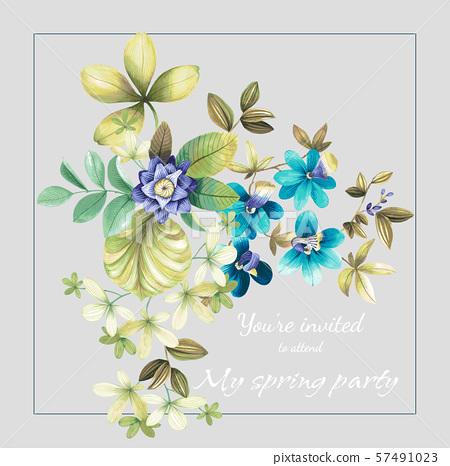 裝飾風格的水彩花卉和婚禮邀請卡設計 57491023