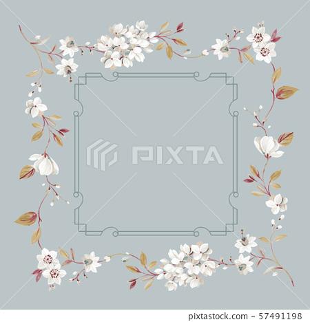 優雅的手繪水彩花卉和牆紙設計 57491198