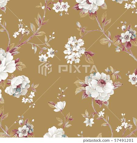 Elegant hand painted watercolor flowers and wallpaper design 57491201