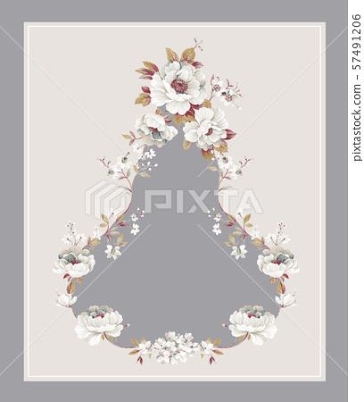 優雅的手繪水彩花卉和牆紙設計 57491206