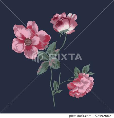 時尚的手繪花卉和海報設計 57492062
