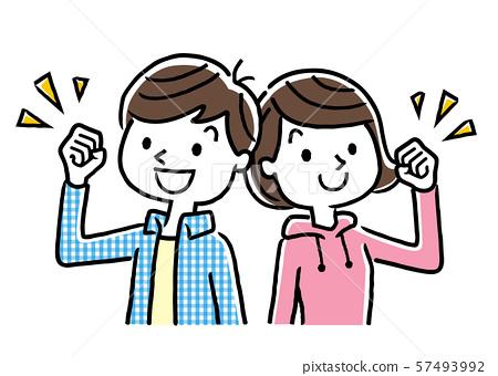 擺在與微笑的男孩和女孩 57493992
