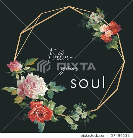 美麗的手繪水彩大花海報設計 57494538