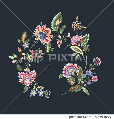 美式花卉設計和紡織圖案設計 57494655
