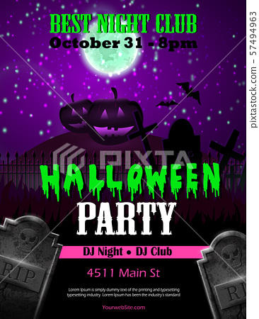 Halloween party flyer with pumpkins 57494963