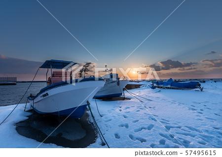 Sunset of Noshappu cape View of Hokkaido 57495615