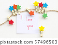 i love you message card handwriting with colorful wooden star clips 57496503
