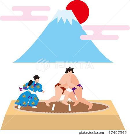 相撲和富士山。日本形象。矢量素材 57497546