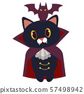 The character of cute black cat wear vampier suit. The vampire cat have canine. bat garps on the head vampire cat. The character of cute cat in flat vector style. 57498942