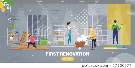 Apartment First Renovation Flat Vector Web Banner 57506574