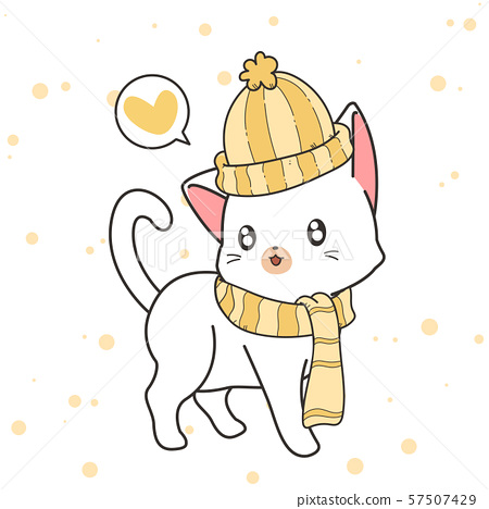 Hand drawn kawaii cat is wearing a hat and scarf 57507429