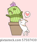 Hand drawn kawaii cat and cactus panda 57507430