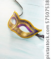 Mardi gras mask on pastel background. 57507538