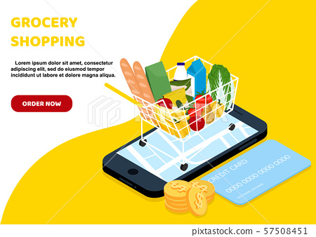 Grocery delivery at home and smartphone app 57508451
