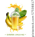 Banana Smoothie Realistic Composition  57508817
