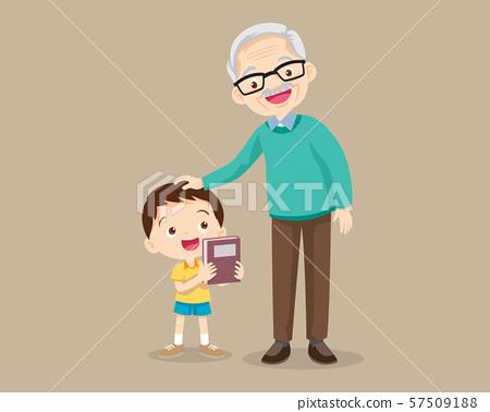 grandparents and grandchildren.Grandson give a 57509188