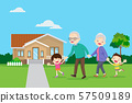 grandparents with kids are walker near the house 57509189