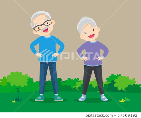 Grandparents exercises  hands on waist standing in 57509192