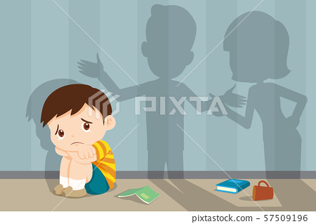 angry family quarreling with sad child 57509196