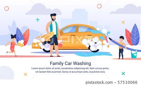 Banner Written Family Car Washihg, Happy Family. 57510066
