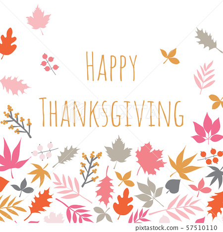 Happy Thanksgiving Scandi style card with autumn abstract doodle leaves background. Thanksgiving 57510110