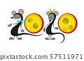 Chinese new year 2020 year of the rat , red paper cut rat character with craft style on white 57511971