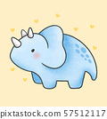 Triceratops dinosaur cartoon hand drawn style 57512117