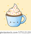 Hot chocolate and whipped cream cartoon hand drawn 57512120