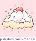 Baby elephat sleeping in the cloud cartoon 57512131