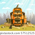 Camp backpack standing on the grass against forest 57512525