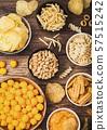 All classic potato snacks with peanuts, popcorn 57515242