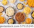 All classic potato snacks with peanuts, popcorn 57515245