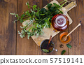 Herbal tea with mint and honey. Photo 57519141