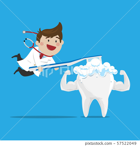 Happy Male Doctor Brushing the Strong Tooth 57522049