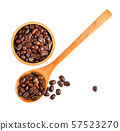 coffee bean isolated in wood spoon on white 57523270