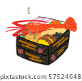 Osechi with Ise shrimp, heavy color, with letters 57524648
