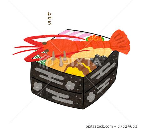 Osechi用伊势虾,重的白色与信件 57524653